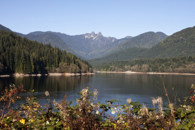 view of the Capilano Reservoir with the Lions in the background near Cleveland Dam Michael Chang.jpg