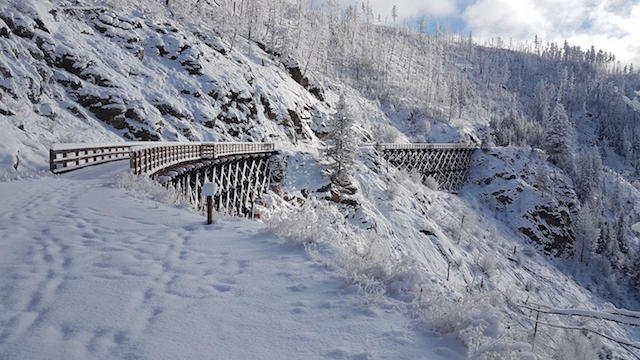 Trestle 11 and 12 on the Myra Canyon in Winter