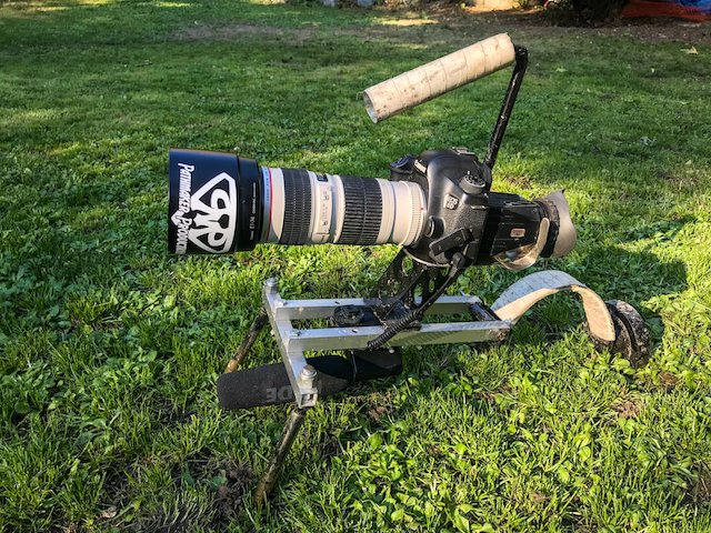 Custom built shoulder rig for DSLR including eyepiece and boom mic.jpg