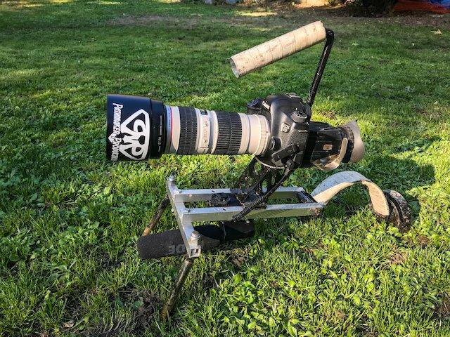 Custom built shoulder rig for DSLR including eyepiece and boom mic.jpg
