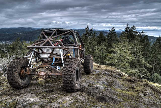 Alex Hinds in the EMB Memorial Buggy, looking out over downtown Victoria from the summit of Mt. Garibaldi.jpeg