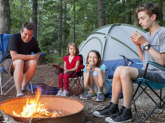 Dad & kids around a campfire