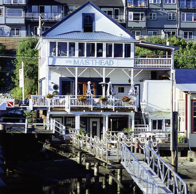 The Masthead Restaurant, a popular dining option in Cowichan Bay.