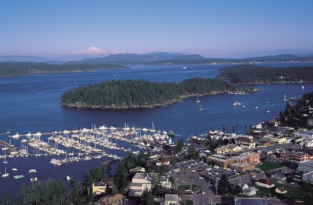 An aerial view of Friday Harbor in the San Juan Islands.