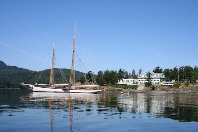A schooner at the Rosario Resort and Spa.