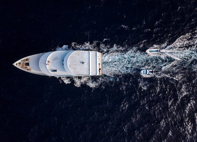 aerial photo of white yacht