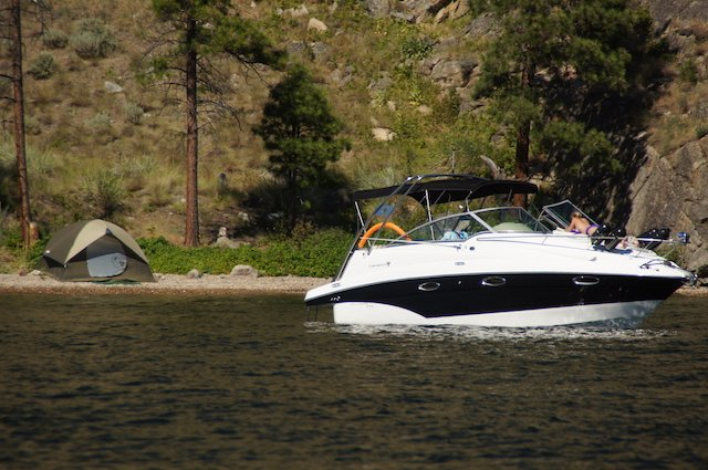 1 boat camping okanagan lake photo Perry Mack.JPG