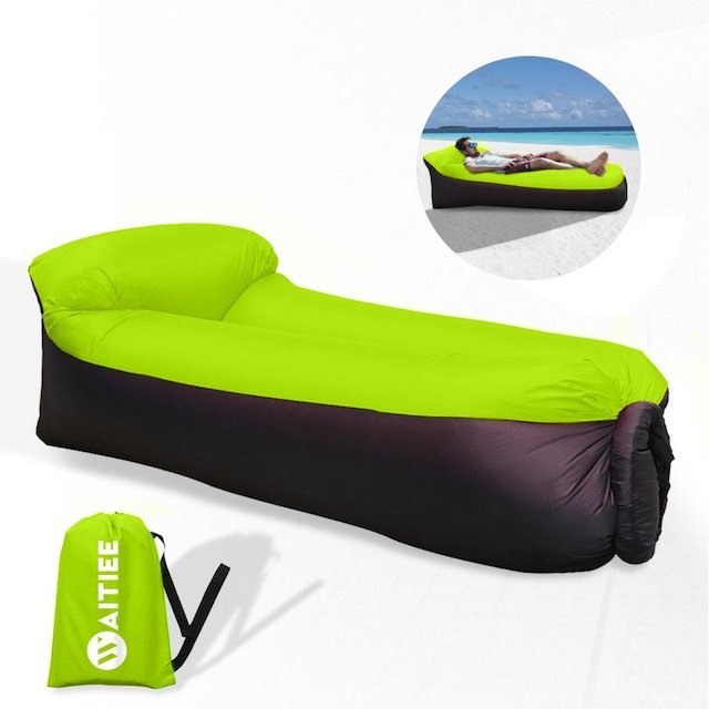 Waitiee Waterproof Inflatable air Lounger with Integral Pillow