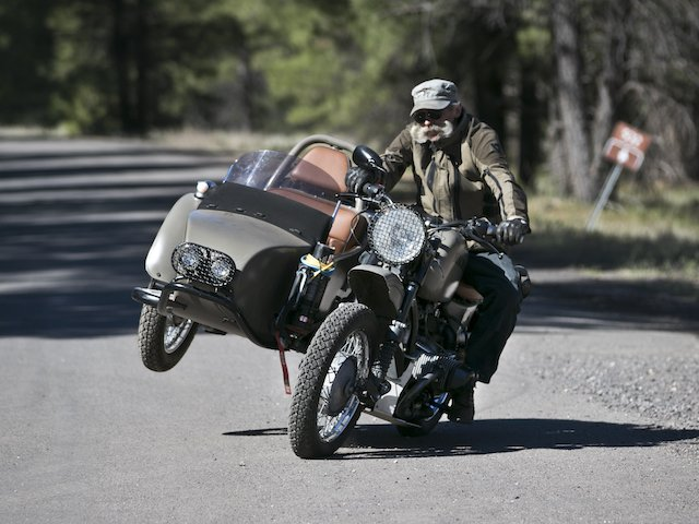 Mark Tetreau from Kalaber Creations, driving Ural U1 at Expo West photo Mercedes Lillienthal.jpg