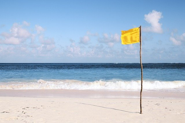 Yellow Flag on Beach