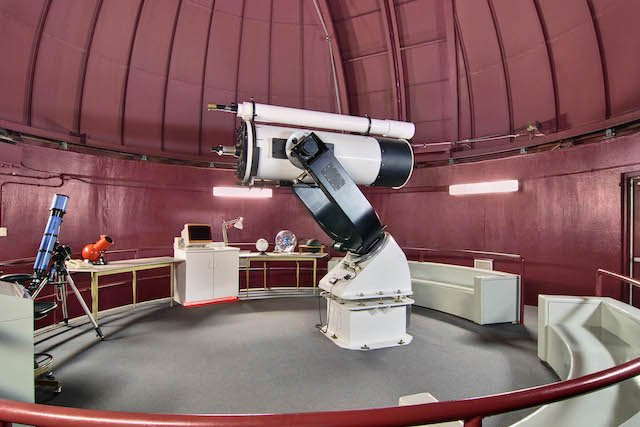 Inside Observatory with Cassegrain Reflectory telescope.