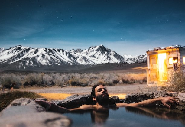 Hot stone bath in the mountains