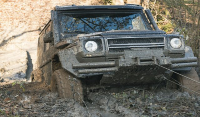 SUV pulled out of the mud