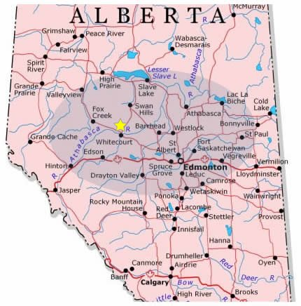 central alberta map