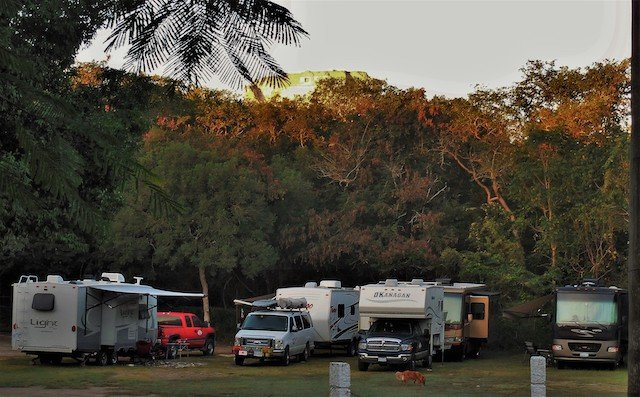 Uxmal Camping at Sunrise -Pyramid in background.jpg