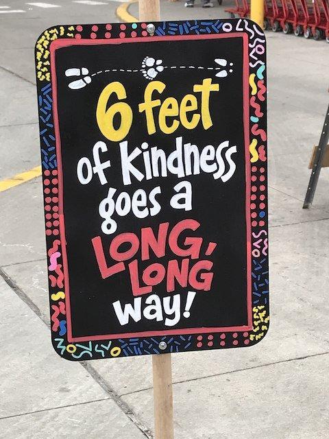 Social distancing sign at Trader Joe's