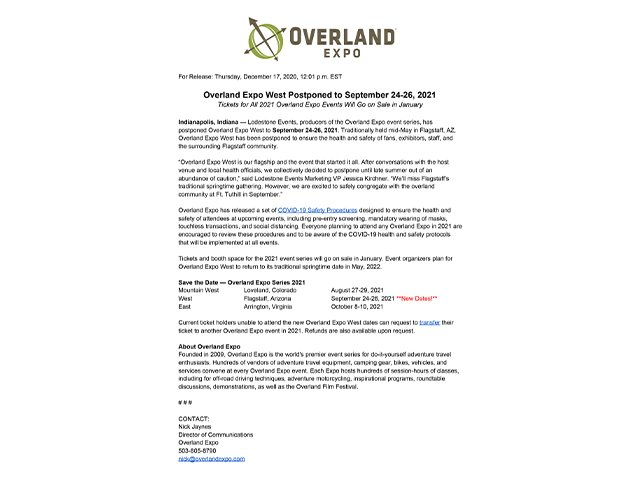 Overland Expo West 2021 Press Release