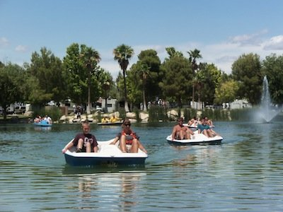 Peddle Boats fountain trees Lakeside Casino and RV Park copy.JPG