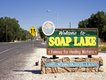 Welcome signs in  the City of Soap Lake