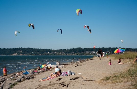 Kiteboarders at Jetty Island Snohomish County