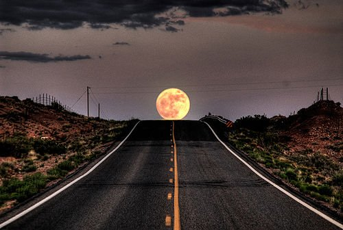 Moonrise on the Mexican Highway